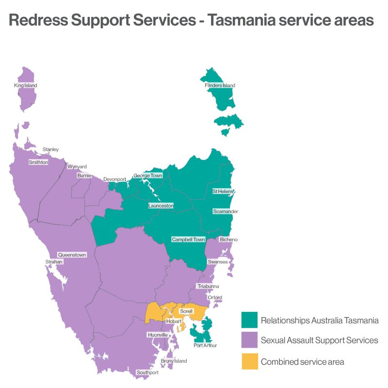 Map of Tasmania showing joint service areas