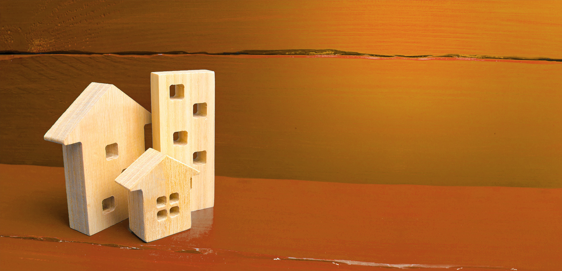 Wooden blocks in the shape of houses