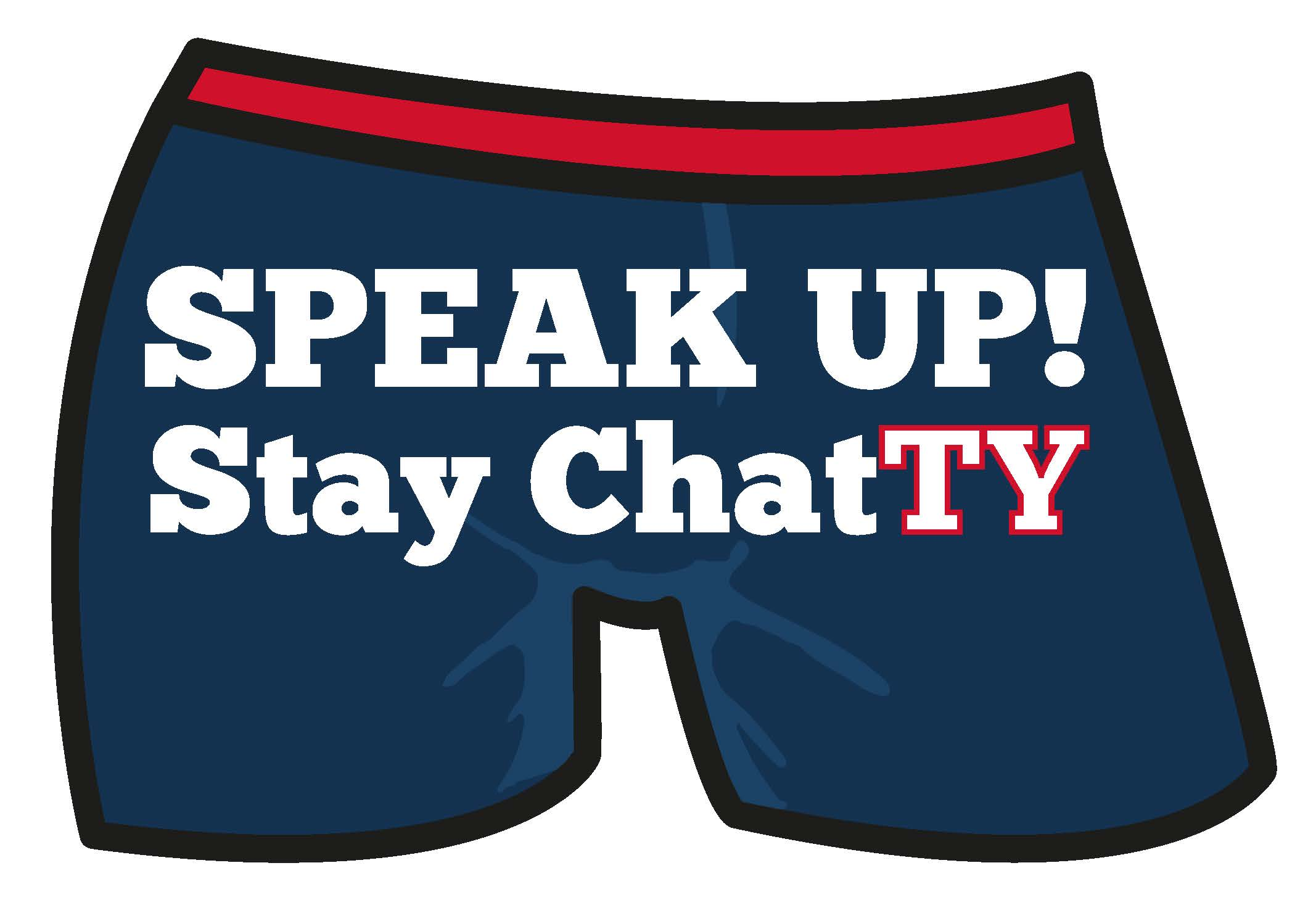 Speak up stay chatty logo blue shorts
