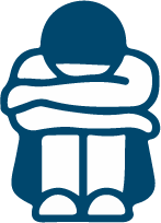 icon of person sitting with head in arms